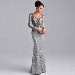 İşlemeli Çok Zarif Gri Abiye Elbiseler 2016