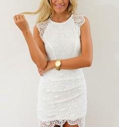 Beyaz İşlemeli Dantelli Elbise Modelleri