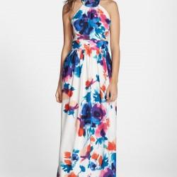 Boyundan Çapraz Askılı Uzun Çiçek Desenli Elbise Modelleri