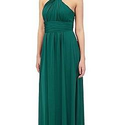 Boyundan Çapraz Askılı Yeşil Elbise Modelleri