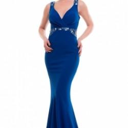 En Şık İşlemeli Askılı Saks Mavisi Elbise Kombinleri