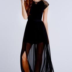 En Şık Kombinlerin Vazgeçilmezi Olana Tül Detaylı Siyah Elbise Tercihleri En İddialı Bayanlar İçin Çok Uygun