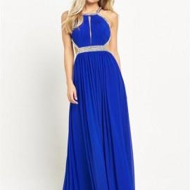 Kemer Detaylı Saks Mavisi Elbise Kombinleri