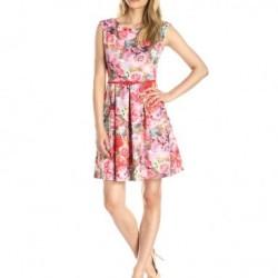 Kemer Detaylı Çiçek Desenli Elbise Modelleri