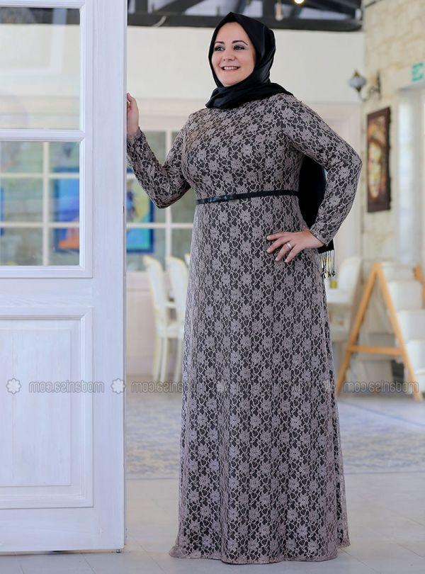 5729c01c854ef Kemer Detaylı Büyük Beden Tesettür Elbise Modelleri 2016