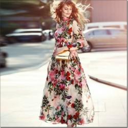 Uçuşan Tül Detaylı Çiçekli Elbise Modelleri