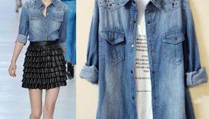 Çok Zarif ve Göz Alıcı Olan Bayan Kot Gömlek Modelleri