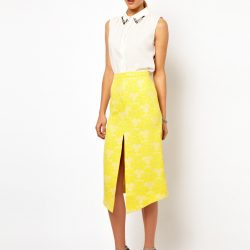 Sarı Renkli Muhteşem Önden Yırtmaçlı Etek Modelleri