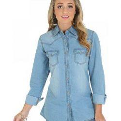 Cep Detaylı Muhteşem Bayan Kot Gömlek Modelleri