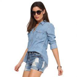 Şortla Uyum Sağlayacak Çok Güzel Bayan Kot Gömlek Modelleri