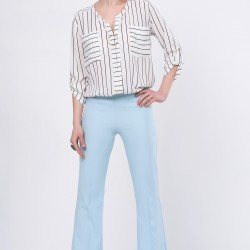 En Güzel İspanyol Paça Buz Mavisi Pantolon Kombin