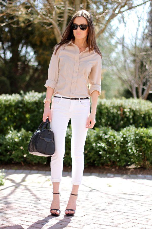 En zarif beyaz pantolon kombinleri