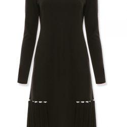 Uzun Kollu Çok Zarif siyah renkli Vakko Elbise Modeli