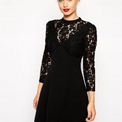 En Şık Siyah Kolları Dantel Detaylı Elbise Modelleri