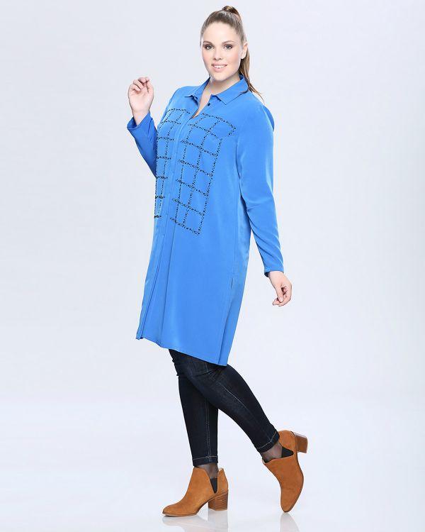 Taş İşlemeli Çok Kibar Mavi Renkli Seçil Store Büyük Beden Tunik Modeli