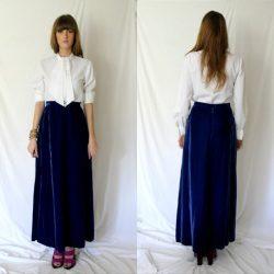 Mavi Renkli Çok Şık Uzun Kadife Etek Modeli