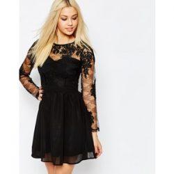 Çok Hoş Kolları Dantelli Siyah Elbise Modeli