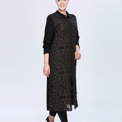 İşlemeli Seçil Store Siyah Renkli Büyük Beden Tunik Modeli