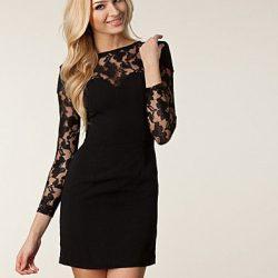 En Tarz Kolları Dantelli Elbise Modeli
