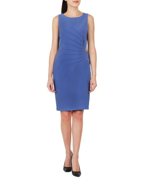 Mavi Renkli Çok Zarif Ekol Elbise Modeli