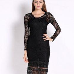 En İddialı Siyah Kolları Dantel Olan Elbise Modeli