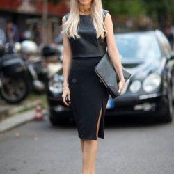 Siyah Renkli Çok Hoş 2016 - 2017 Yırtmaçlı Etek Modeli