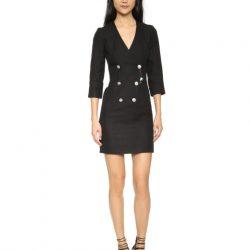 """Düğmeli ve """"V"""" Yaka Detaylı Çok Alımlı Elbise Modeli"""
