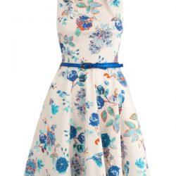 Çiçek Desenli Kemer Detaylı En Yeni Kloş Elbiseler