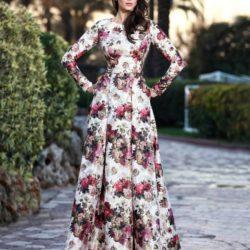 Çiçek Desenli Oldukça Şık Yeni Sezon Seçil Store Abiye Elbise Modelleri