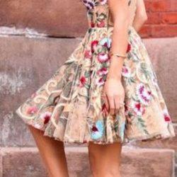 En Yeni Çiçek Desenli Kloş Elbise Modelleri