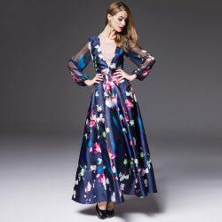 En Hoş Çiçek Desenli Uzun Elbise Modeli