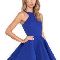 Saks Mavisi En Güzel Kloş Elbiseler