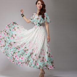 Çok Güzel Çiçek Desenli Uzunlu Elbise Modeli