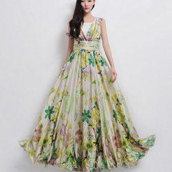 Desenli Uzun Elbise Modeli