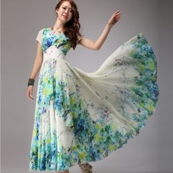 En Alımlı Çiçek Desenli Uzun Elbise Modeli