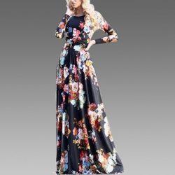 Uzun Çiçek Desenli Elbise Modeli