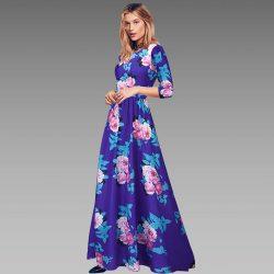 Çiçek Desenli Çok Hoş Uzun Elbise Modeli