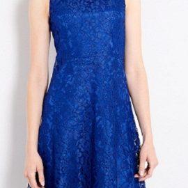 Mavi Renkli Çok Şık Kloş Elbise Modeli