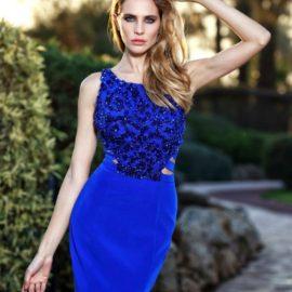 Mavi Renk İşleme Detaylı Seçil Store Abiye Elbise Modelleri