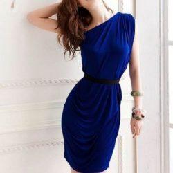 Tek Omuzdan Askılı Saks Mavisi Genç Elbiseleri