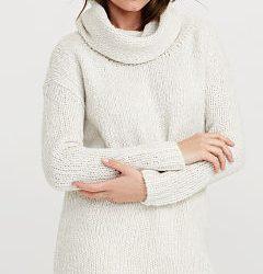 2017 Beyaz Renkli Degaje Yaka Kazak Modelleri