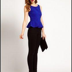 Saks Mavisi Peplum Bluz Siyah Pantolon Kombini