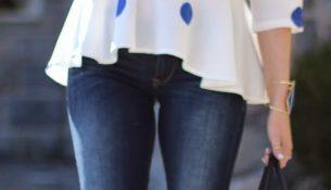 En Güzel Puantiye Detaylı Peplum Bluz Modelleri 2017