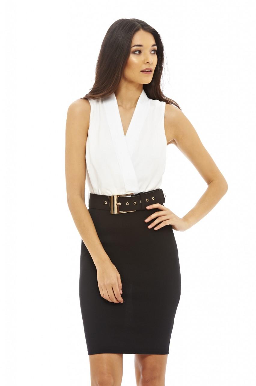 2017 İki Renk Kalın Kemerli Elbise Modelleri