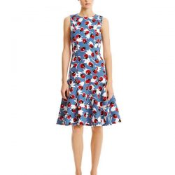 Çiçek Desenli Kloş Elbise Modelleri 2018