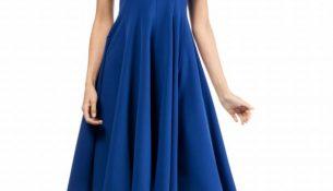 Saks Mavisi Kloş Elbise Modelleri 2018