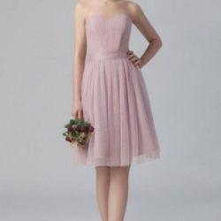 Pembe Renkli Straplez Pileli Elbise Modelleri 2018