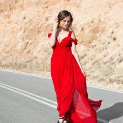 En Zarif Kırmızı Renkli Günlük Elbise Modelleri 2019