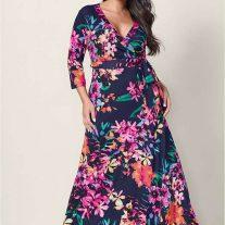 Çiçek Desenli Büyük Beden Elbise Modelleri 2019
