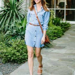 Önden Düğmeli Kot Elbise Modelleri